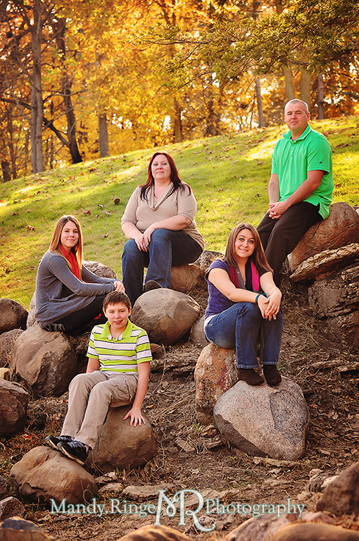Autumn family portraits - Sitting on rocks // Fabyan Forest Preserve - Batavia, IL // by Mandy Ringe Photography