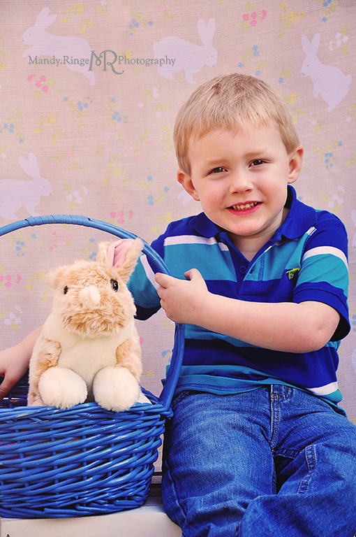 Easter photo shoot // Cousins, boys, bunny backdrop, stuffed bunny, easter basket // Camden, OH // by Mandy Ringe Photography