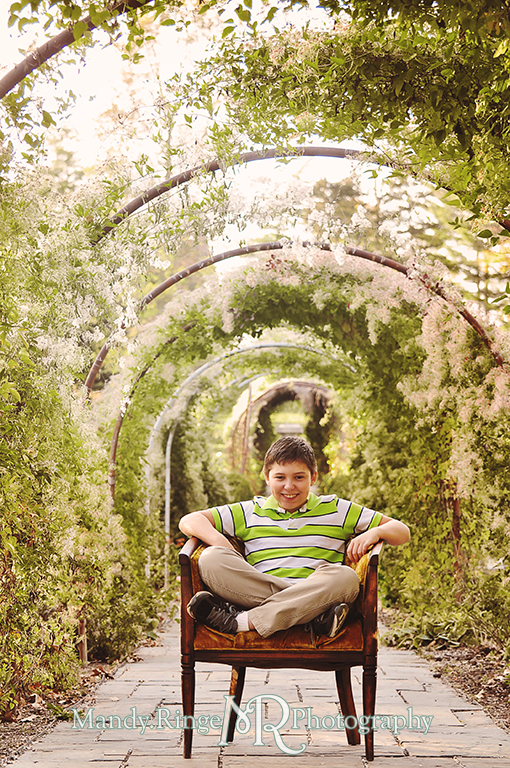 Autumn family portraits - sitting in an antique chair under the rose arbor // Fabyan Forest Preserve - Batavia, IL // by Mandy Ringe Photography