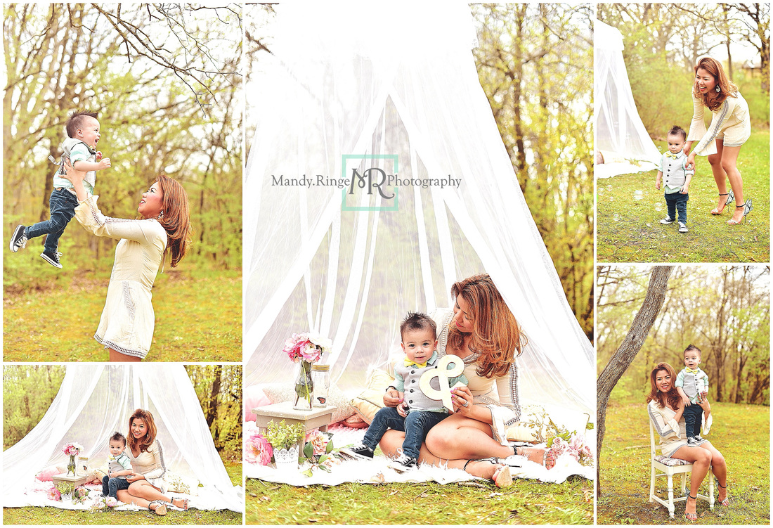 Mommy and Me styled mini session // outdoors, hoop canopy, pillows, pink, gold, gray // St Charles, IL - by Mandy Ringe Photography