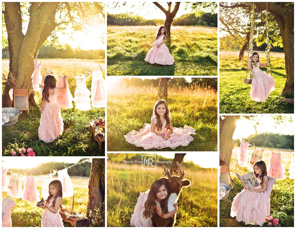 Princess for a day mini sessions // wash day, fancy dresses, frog prince, outdoors, clothesline, washtub // St. Charles, IL // by Mandy Ringe Photography