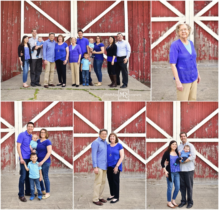 Extended family portraits // Outdoor, red and white barn, blue, black, gray // Leroy Oakes - St. Charles, IL // by Mandy Ringe Photography