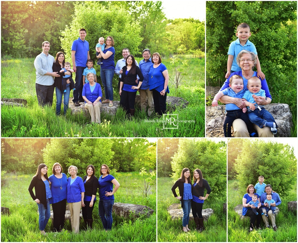 Extended family portraits // Outdoor, posing on rocks, blue, black, gray // Leroy Oakes - St. Charles, IL // by Mandy Ringe Photography