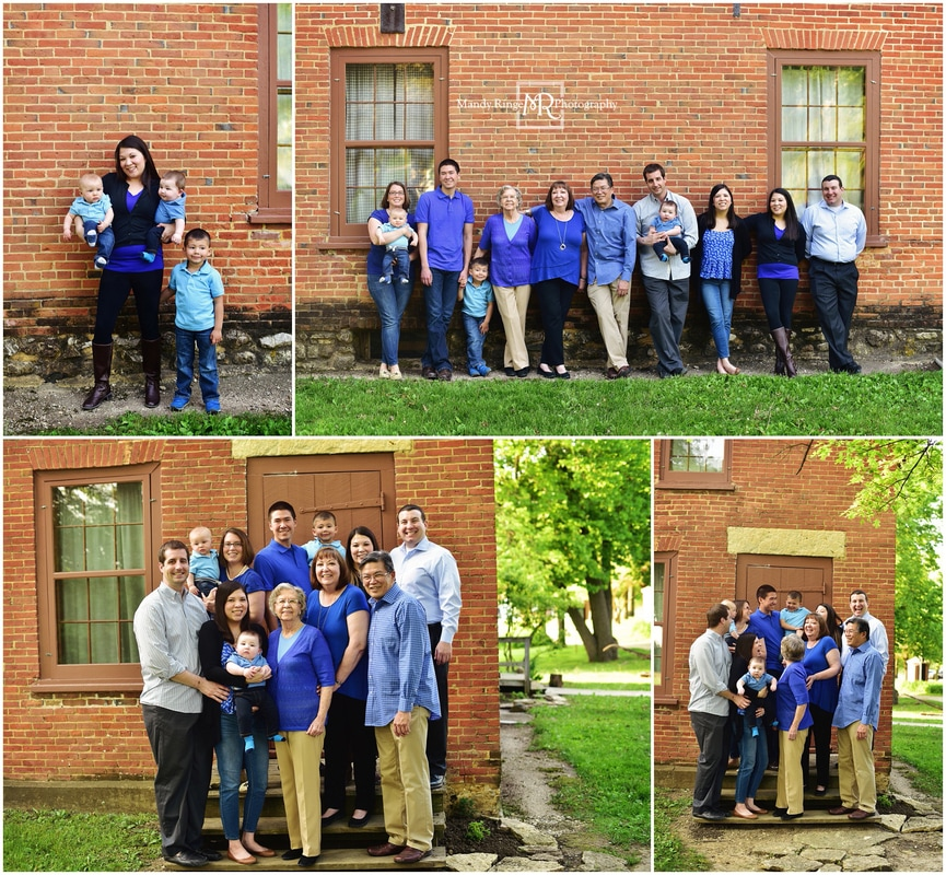 Extended family portraits // Outdoor, brick building, stairs, blue, black, gray // Leroy Oakes - St. Charles, IL // by Mandy Ringe Photography