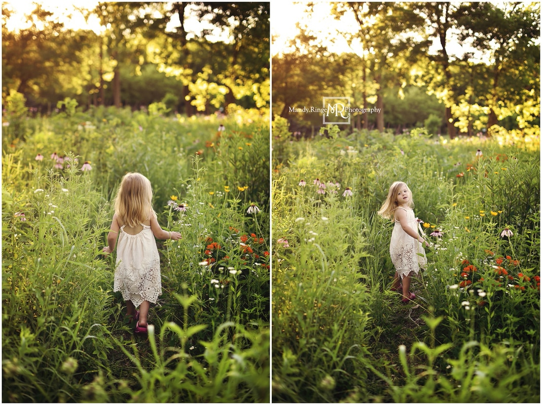 3 year old girl portraits // orange, white, and pink wildflowers, butterfly weed, prairie, Dollcake Oh-so-girly