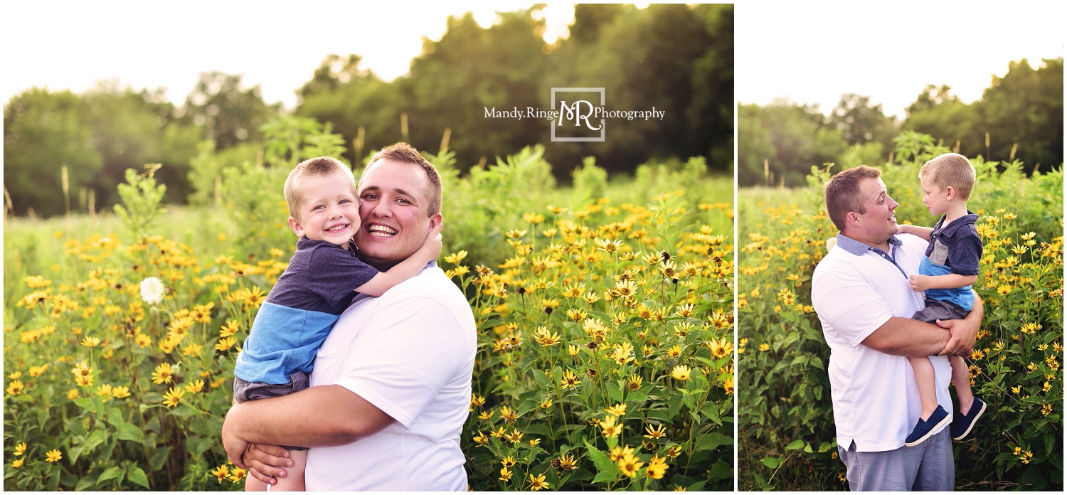 Summer family portraits // outdoors, prairie, wildflowers, tall grass, family of four // Leroy Oakes - St. Charles, IL // by Mandy Ringe Photography