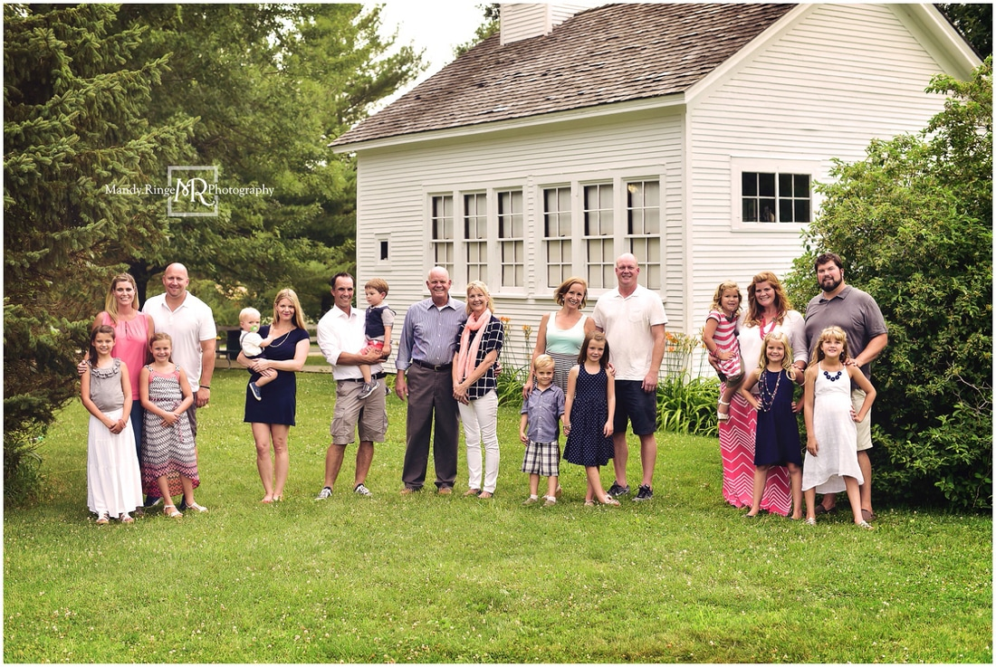 Summer extended family portraits // Prairie Sholes School, schoolhouse, prairie, outdoors // Leroy Oakes - St. Charles, IL // by Mandy Ringe Photography