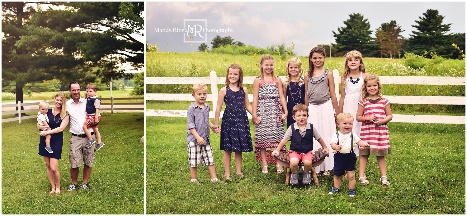 Summer extended family portraits // white fence, prairie, outdoors // Leroy Oakes - St. Charles, IL // by Mandy Ringe Photography