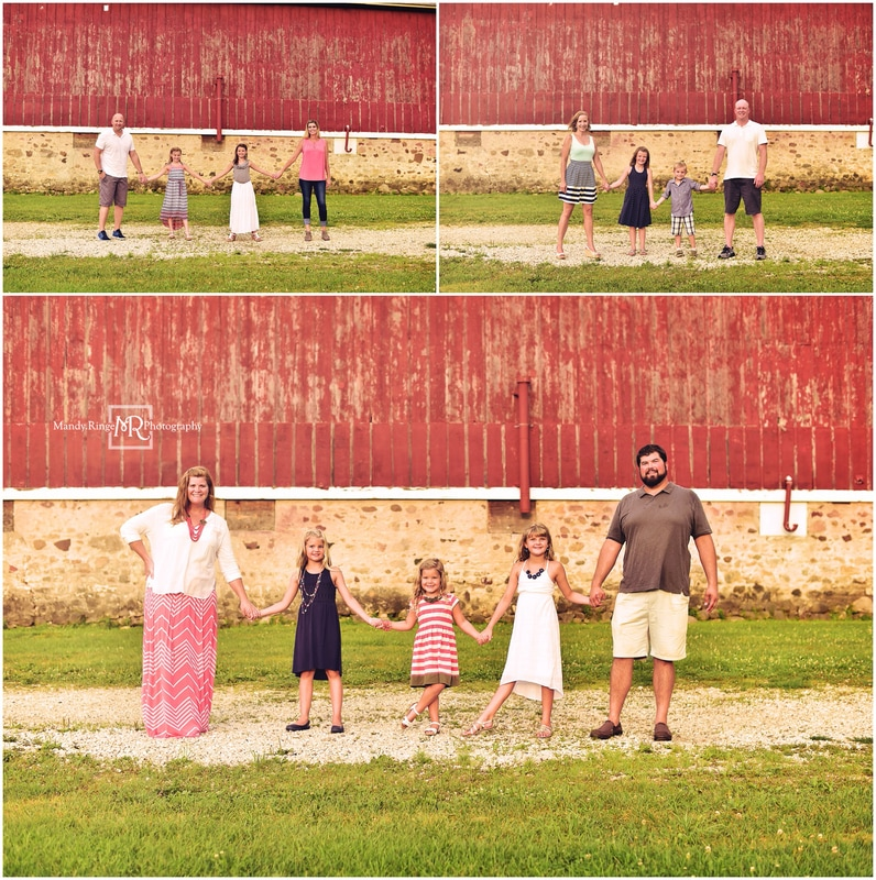 Summer extended family portraits // red and white barn, outdoors // Leroy Oakes - St. Charles, IL // by Mandy Ringe Photography