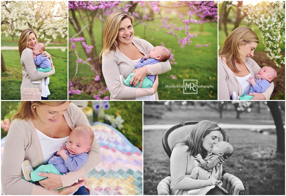 Mommy & Me styled mini sessions // Spring, flowers, flowering trees // Mount St. Mary Park - St. Charles, IL // by Mandy Ringe Photography