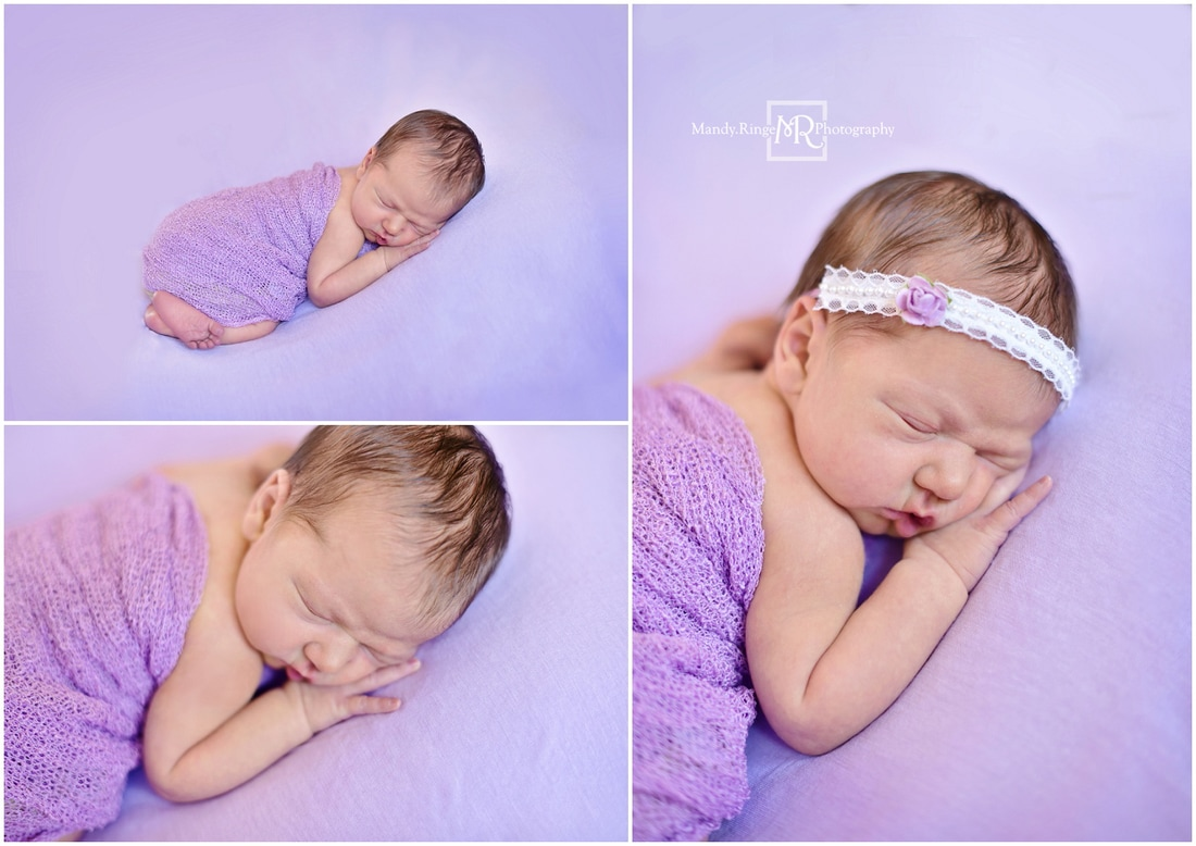 Newborn girl portraits // purple, bean bag pose, bum up // St. Charles, IL // by Mandy Ringe Photography