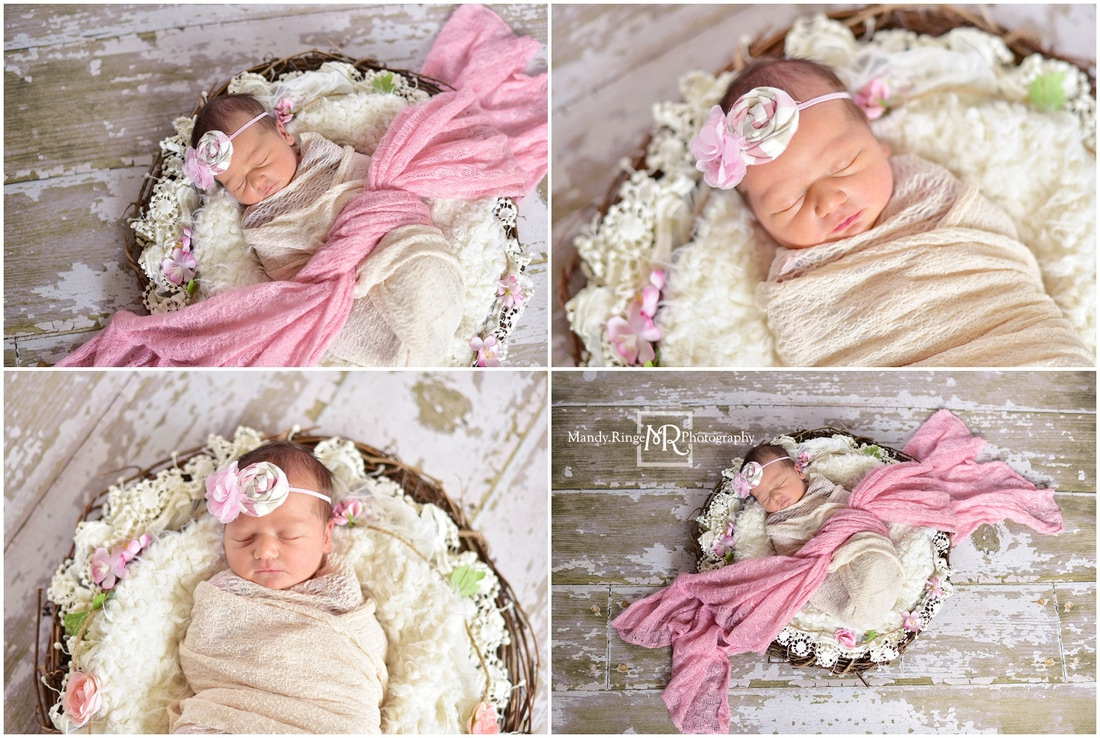 Newborn girl portraits // grapevine wreath, white and pink, flowers // St. Charles, IL // by Mandy Ringe Photography