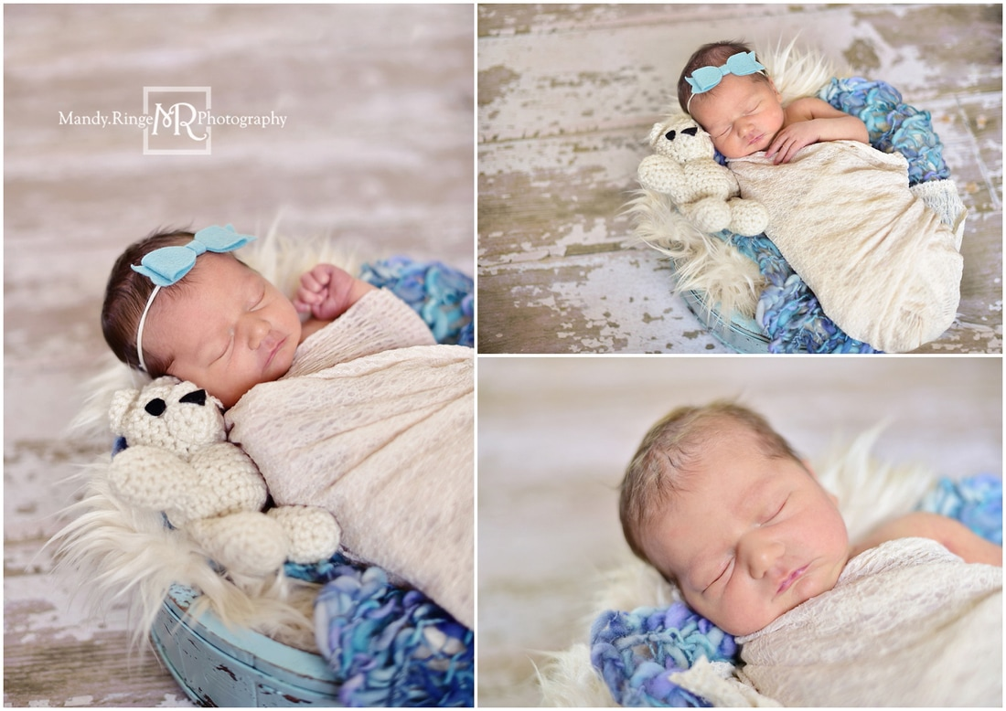 Newborn girl portraits // shabby blue bucket, crochet bear, ivory, teal,, purple // St. Charles, IL // by Mandy Ringe Photography