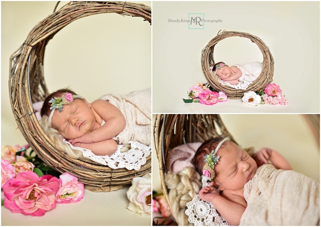 Newborn girl portraits // willow branch basket, crochet doily, ivory // St. Charles, IL // by Mandy Ringe Photography