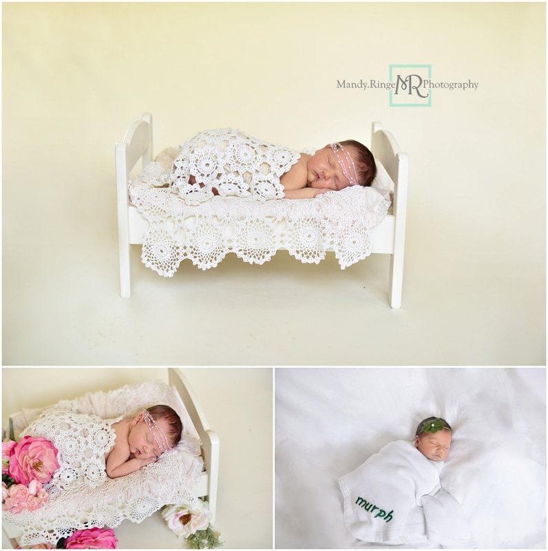 Newborn girl portraits // wooden bed, crochet doily, ivory // St. Charles, IL // by Mandy Ringe Photography