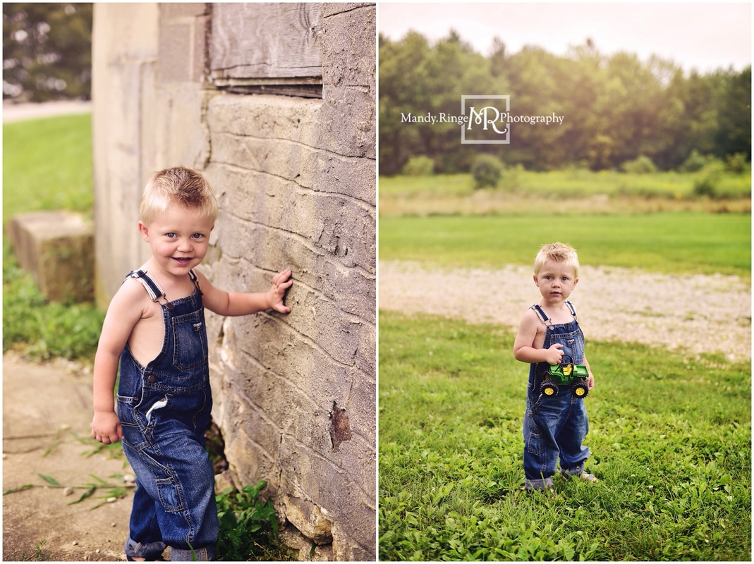 2nd birthday portraits // outdoors, summer, boy, toddler, rustic, farm, barn, overalls // Leroy Oakes Forest Preserve - St. Charles, IL // by Mandy Ringe Photography