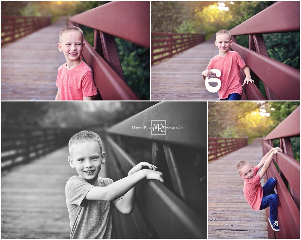 Summer family portraits // boy 6th birthday, outdoors, forest, pedestrian bridge // Leroy Oakes Forest Preserve - St Charles, IL // by Mandy Ringe Photography