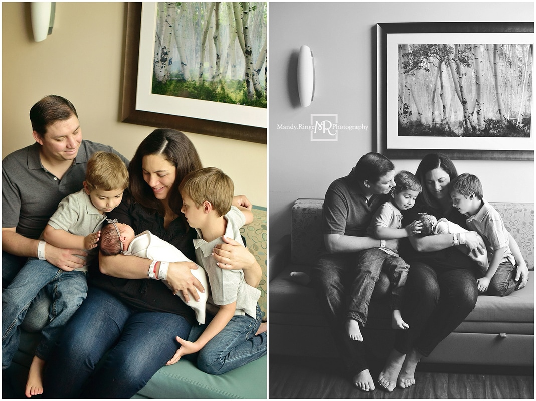 Fresh 48 hospital portraits // newborn girl, family of five, big brothers, little sister // Delnor Hospital - Geneva, IL // by Mandy Ringe Photography