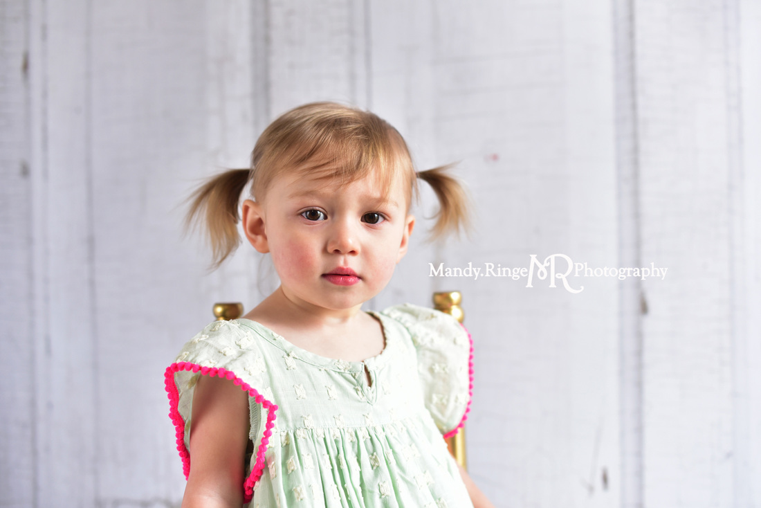 Toddler girl's second birthday portraits // Mint and hot pink, ivory rag rug, two years old // client home - traveling studio // by Mandy Ringe Photography