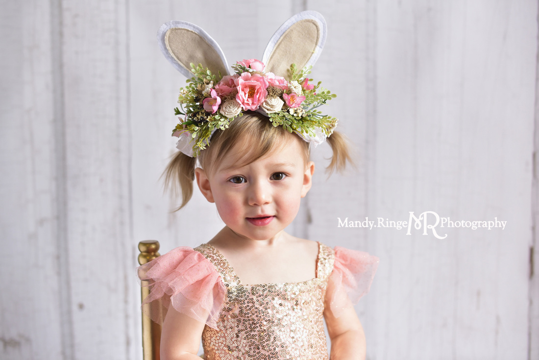 Toddler girl's second birthday portraits // pink and gold angel sleeve dress, gold sequins, one of a kind Easter bunny ears headpiece, floral headpiece, two years old // client home - traveling studio // by Mandy Ringe Photography