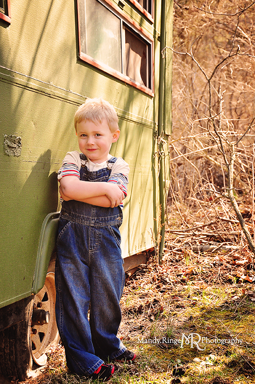 Cousins photo shoot // Boys, rustic green trailer and woods, overalls // Camden, OH // by Mandy Ringe Photography