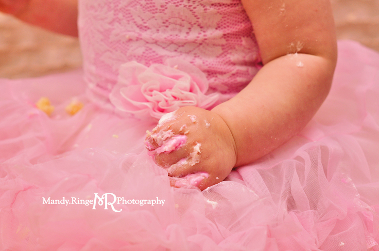 Baby girl's first birthday smash cake portraits // Blush, pink, white, and gold, ruffle fabric, tissue paper poms, tissue paper garland // St Charles, IL // by Mandy Ringe Photography