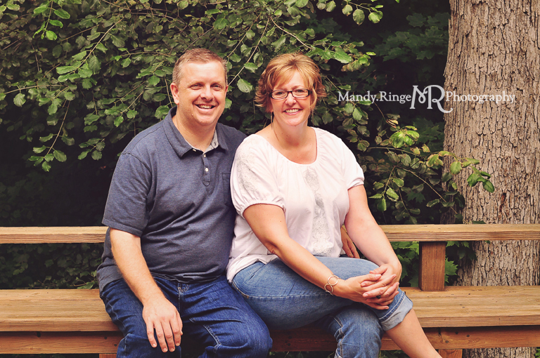 At-home family portrait session // Outdoors in a green, wooded area // St Charles, IL // by Mandy Ringe Photography