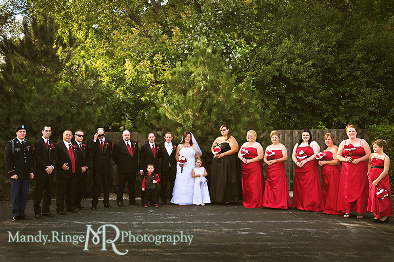 Wedding party shot - black, white and red wedding // Wedding Photography // Lincoln Inn Banquets - Batavia, IL // by Mandy Ringe Photography
