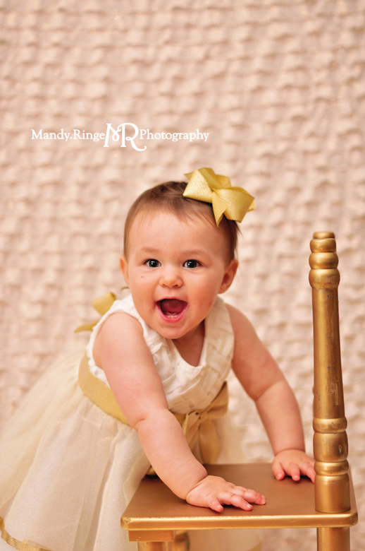Baby girl's first birthday portraits // Blush and gold, ruffle fabric, white fur, gold chair // St Charles, IL // by Mandy Ringe Photography