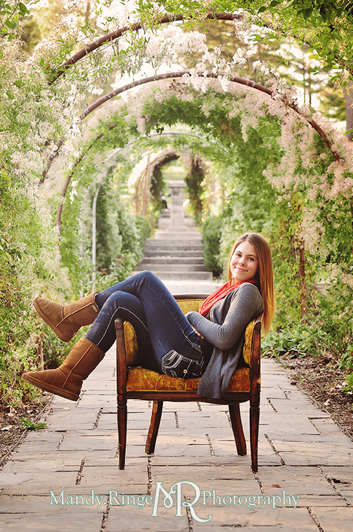 Autumn family portraits - sitting in an antque chair under the rose arbor // Fabyan Forest Preserve - Batavia, IL // by Mandy Ringe Photography