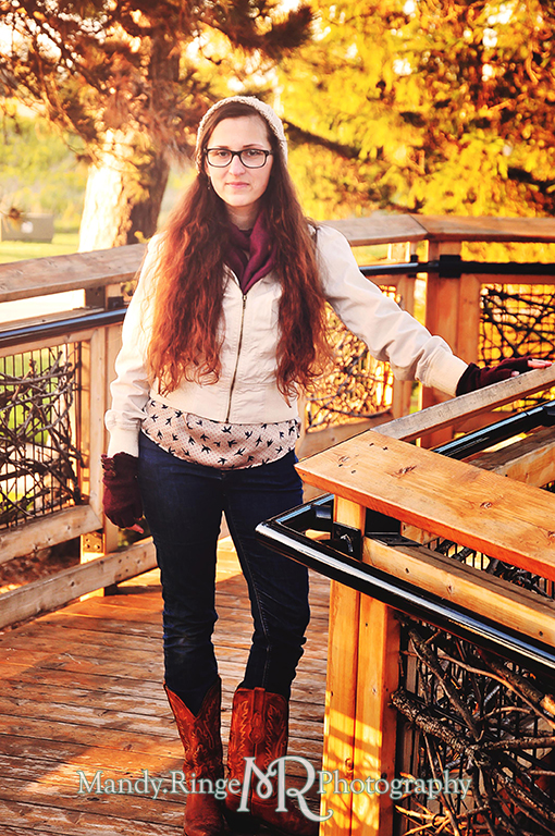 Adult woman portrait, posing on a wooden bridge // Peck Farm Park, Hawk's Hollow // Geneva, IL // by Mandy Ringe Photography