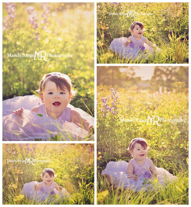 9 month old girl portraits // Wild indigo field, purple dress, prairie wildflowers // St. Charles, IL // by Mandy Ringe Photography
