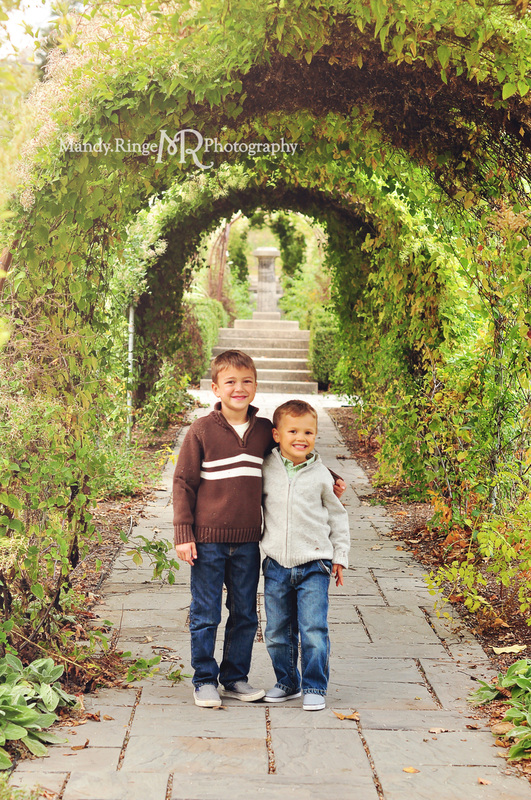 Sibling portraits // brothers, villa garden, rose arbor // Fabyan Forest Preserve - Geneva, IL // by Mandy Ringe Photography