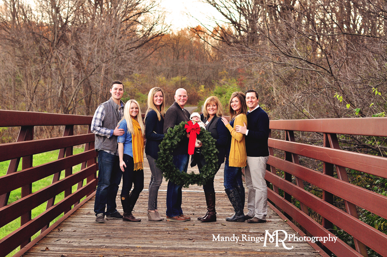 Extended Family Portrait Session // Outdooor fall photos, long pedestrian bridge, woods // Leroy Oakes Forest Preserve - St Charles, IL // by Mandy Ringe Photography