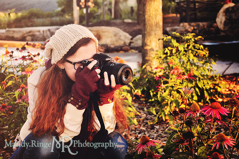 Adult woman portrait, photographer posing with a camera // Peck Farm Park // Geneva, IL // by Mandy Ringe Photography