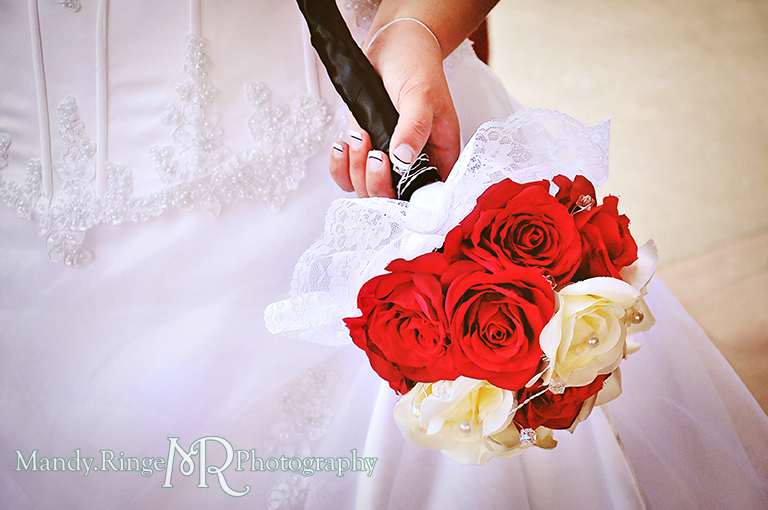 Bride's bouquet shot - black, white and red wedding // Wedding Photography // Lincoln Inn Banquets - Batavia, IL // by Mandy Ringe Photography