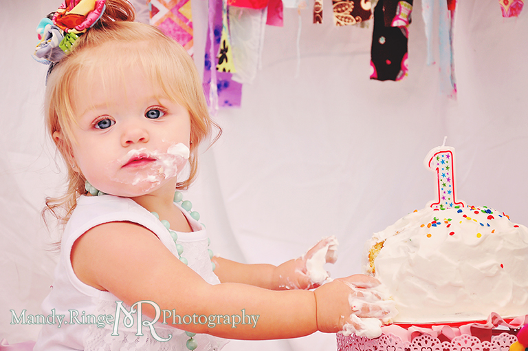 Baby girl's first birthday smash cake session. Rag garland and rag tutu // by Mandy Ringe Photography