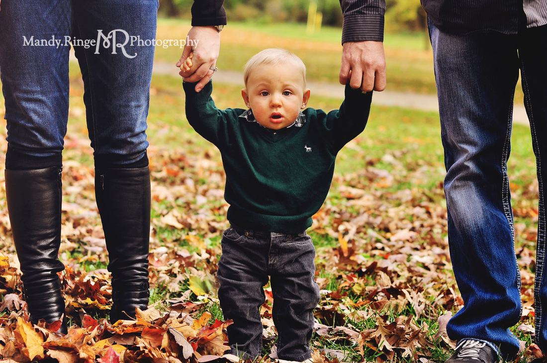9 month old boy portraits // fall, autumn, leaves, fall foliage // Pottawatomie Park - St. Charles, IL // by Mandy Ringe Photography