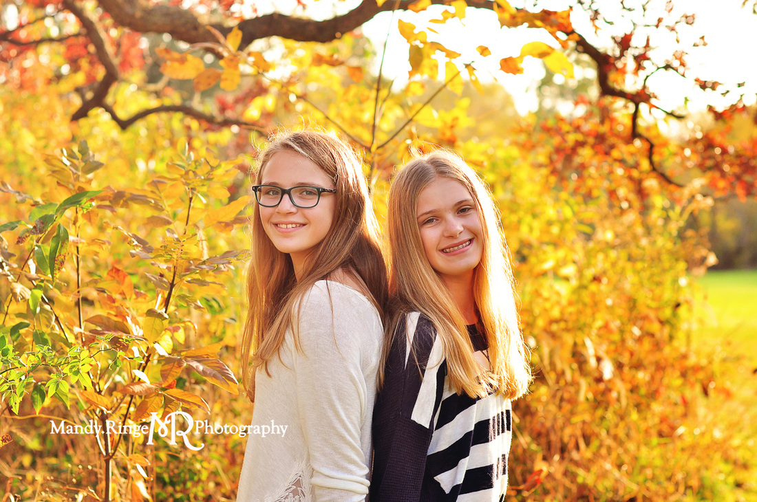 Sisters - fall sibling portraits // teen girls, autumn, fall foliage, leaves, outdoors // Delnor Woods Park - St. Charles, IL // by Mandy Ringe Photography