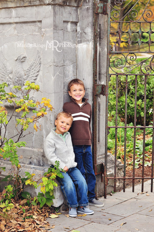 Sibling portraits // brothers, villa garden, iron gate // Fabyan Forest Preserve - Geneva, IL // by Mandy Ringe Photography