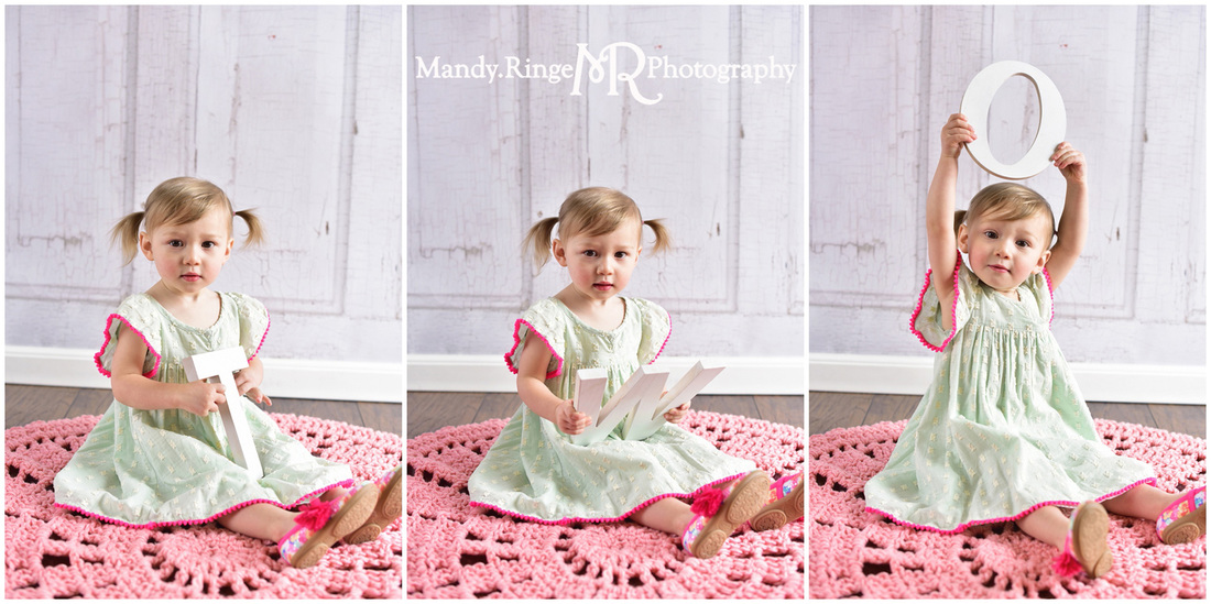 Toddler girl's second birthday portraits // Mint and hot pink, pink crochet afghan, TWO letters, two years old // client home - traveling studio // by Mandy Ringe Photography