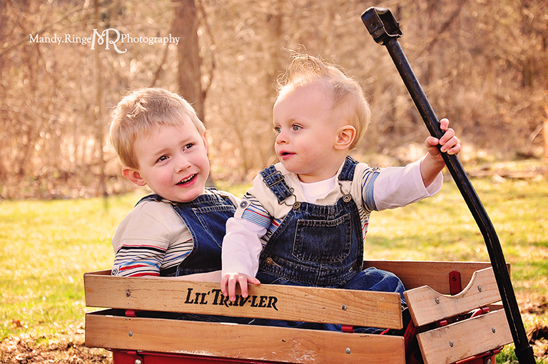 Cousins photo shoot // Boys, radio flyer wagon, overalls // Camden, OH // by Mandy Ringe Photography