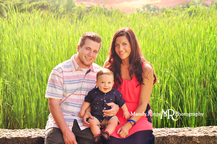 Family Portraits // Stone bench, reeds // Leroy Oakes - St. Charles, IL // by Mandy Ringe Photography