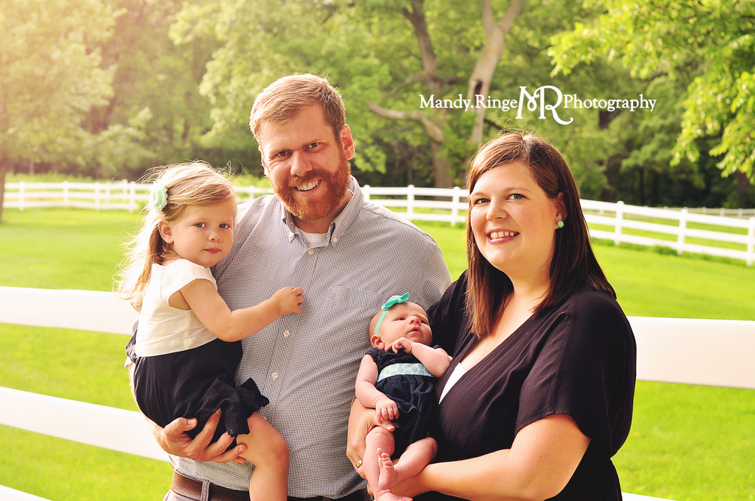 Family portraits // Outdoors, white fence // St. James Farm - Winfield, IL // by Mandy Ringe Photography