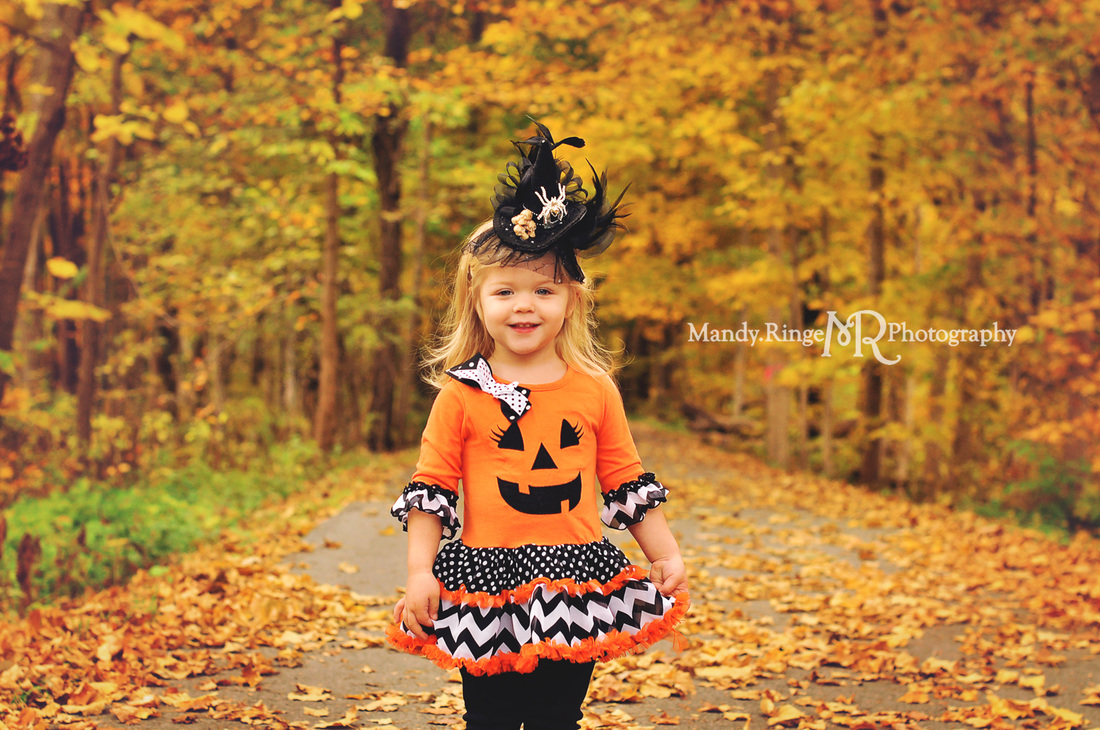 Halloween costume mini session // woods, maple grove, fall foliage, leave, pumpkin dress, fancy witch hat // Bliss Woods - Sugar Grove, IL // by Mandy Ringe Photography