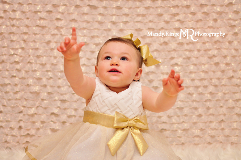 Baby girl's first birthday portraits // Blush and gold, ruffle fabric, white fur // St Charles, IL // by Mandy Ringe Photography