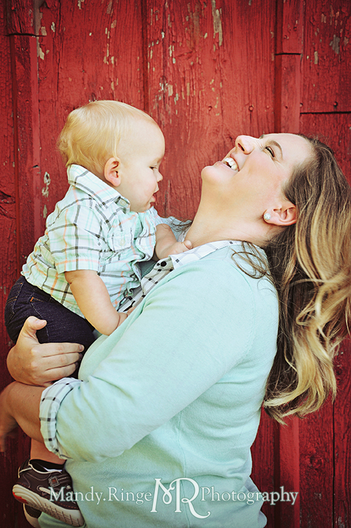 Family photos, mother and son, in front of a red barn // Leroy Oaks // St Charles, IL // by Mandy Ringe Photography
