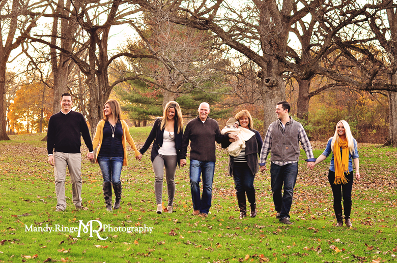 Extended Family Portrait Session // Outdooor fall photos, oak trees, woods // Leroy Oakes Forest Preserve - St Charles, IL // by Mandy Ringe Photography