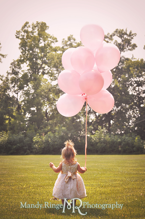 Baby girl's first birthday // Pink balloons, white and gold dress, standing out in a field // Delnor Woods - St Charles, IL // by Mandy Ringe Photography