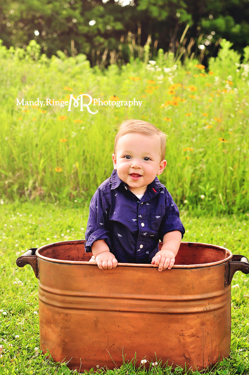 Family Portraits // Summer prairie, copper tub // Leroy Oakes - St. Charles, IL // by Mandy Ringe Photography